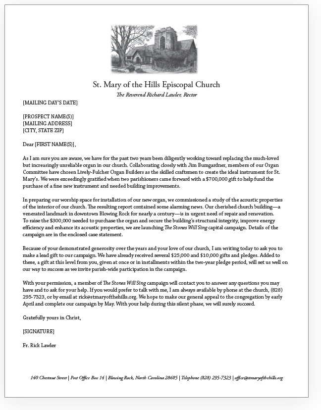 St. Mary of the Hills case statement cover letter