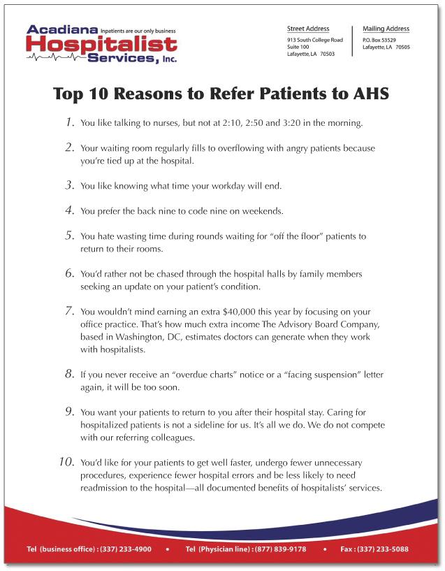 Acadiana Hospitalist Services, Inc., flyer