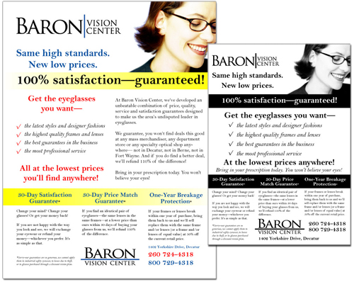 Baron Vision Center flyer and print advertisement