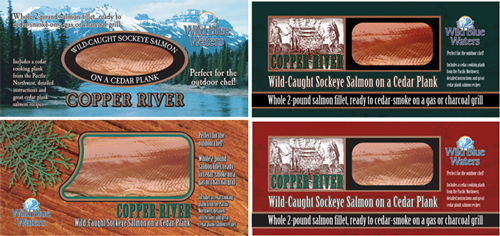 Wild Blue Waters Copper River brand salmon package design concepts