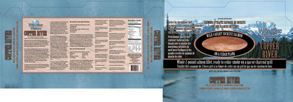 Wild Blue Waters Copper River salmon package design
