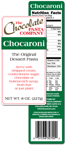 The Chocolate Pasta Company Chocaroni label
