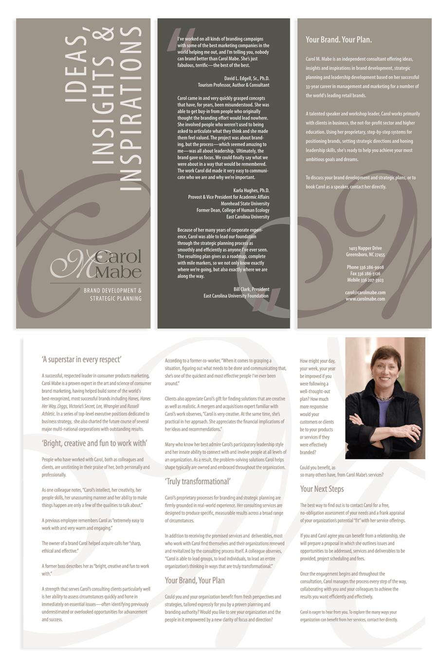 Carol Mabe's Ideas, Insights & Inspirations brochure