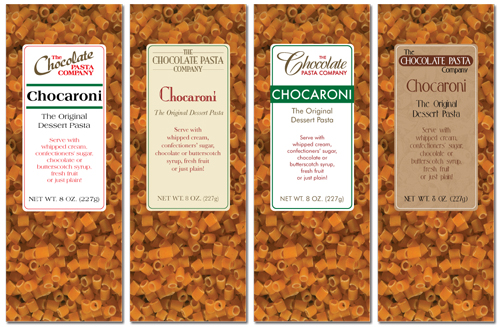 The Chocolate Pasta Company logo and package design concepts