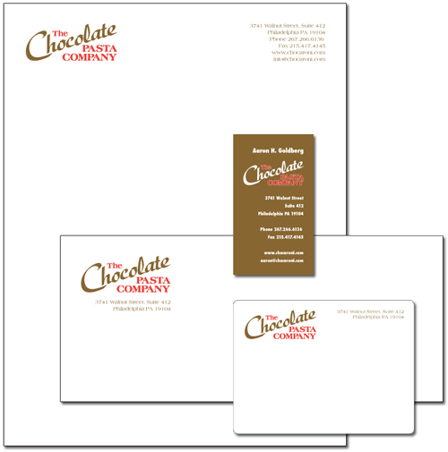 The Chocolate Pasta Company logo and stationery