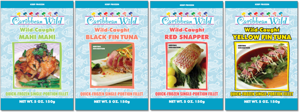 Wild Blue Waters Caribbean Wild brand seafood pouch designs