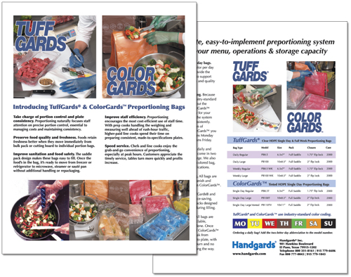 Product flyer for Handgards, Inc.