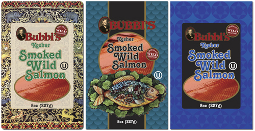 Wild Blue Waters Bubbi's brand smoked salmon package design concepts