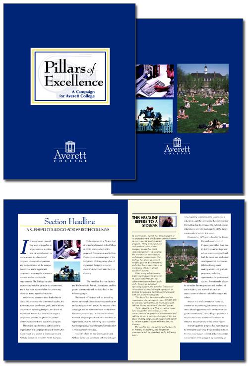 Averett College Pillars of Excellence case statement brochure design concept
