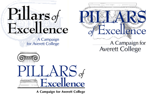Averett College Pillars of Excellence campaign logo design concepts