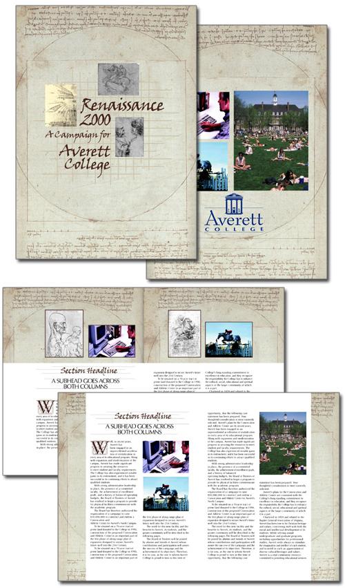 Averett College REnaissance 2000 case statement brochure design concepts