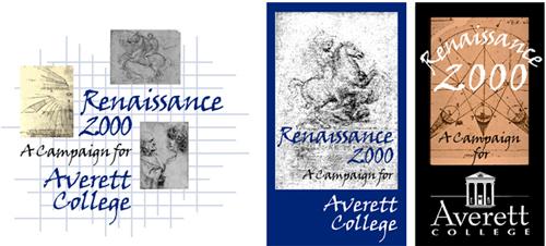 Averett College Renaissance 2000 campaign logo concepts