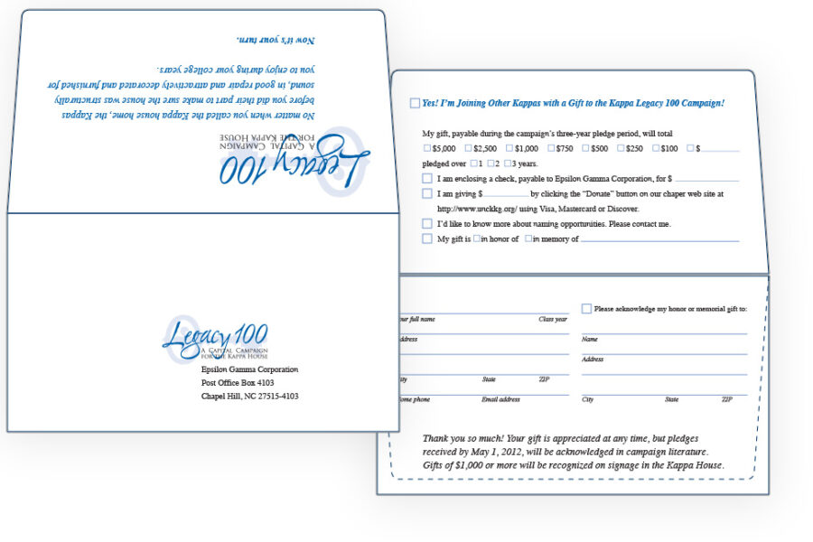 Kappa Legacy 100 campaign reply envelope