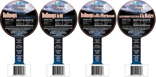 Wild Blue Waters pickled herring label designs