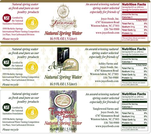 Joyce Foods bottled water labels