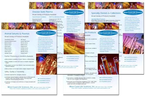 West Coast Life Sciences product flyers